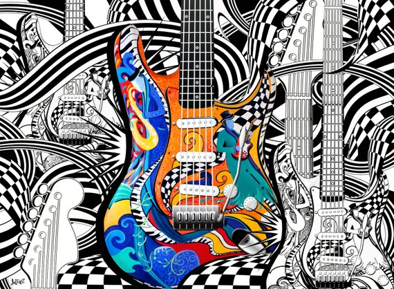 Coloring Page Printable Guitar Pages Poster Instant Colori