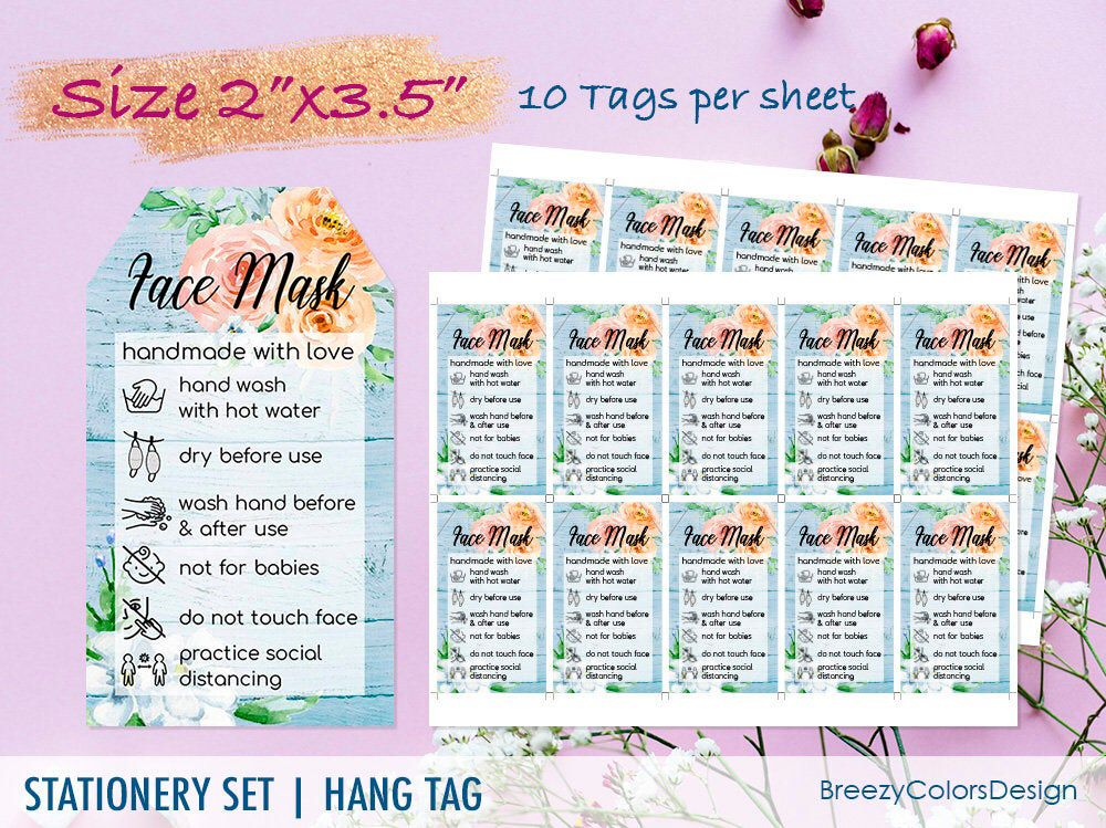 Face Mask Care Card Editable Instructions Tips Template Etsy Gift Tags Printable Cards Face Mask