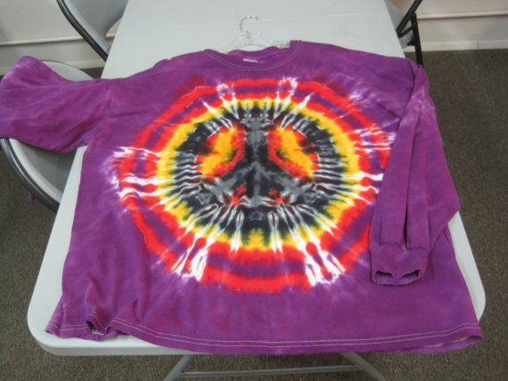 Plus size Tie Dye 4X large Long Sleeve Peace Sign by AlbanyTieDye, $24.00