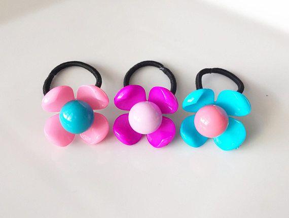 Flower Ponytail Holders   Ponytail   Pigtail   Braids   Hair Ties   Toddler  Hair Ties   Hair Tie Set 7b589a8b34e
