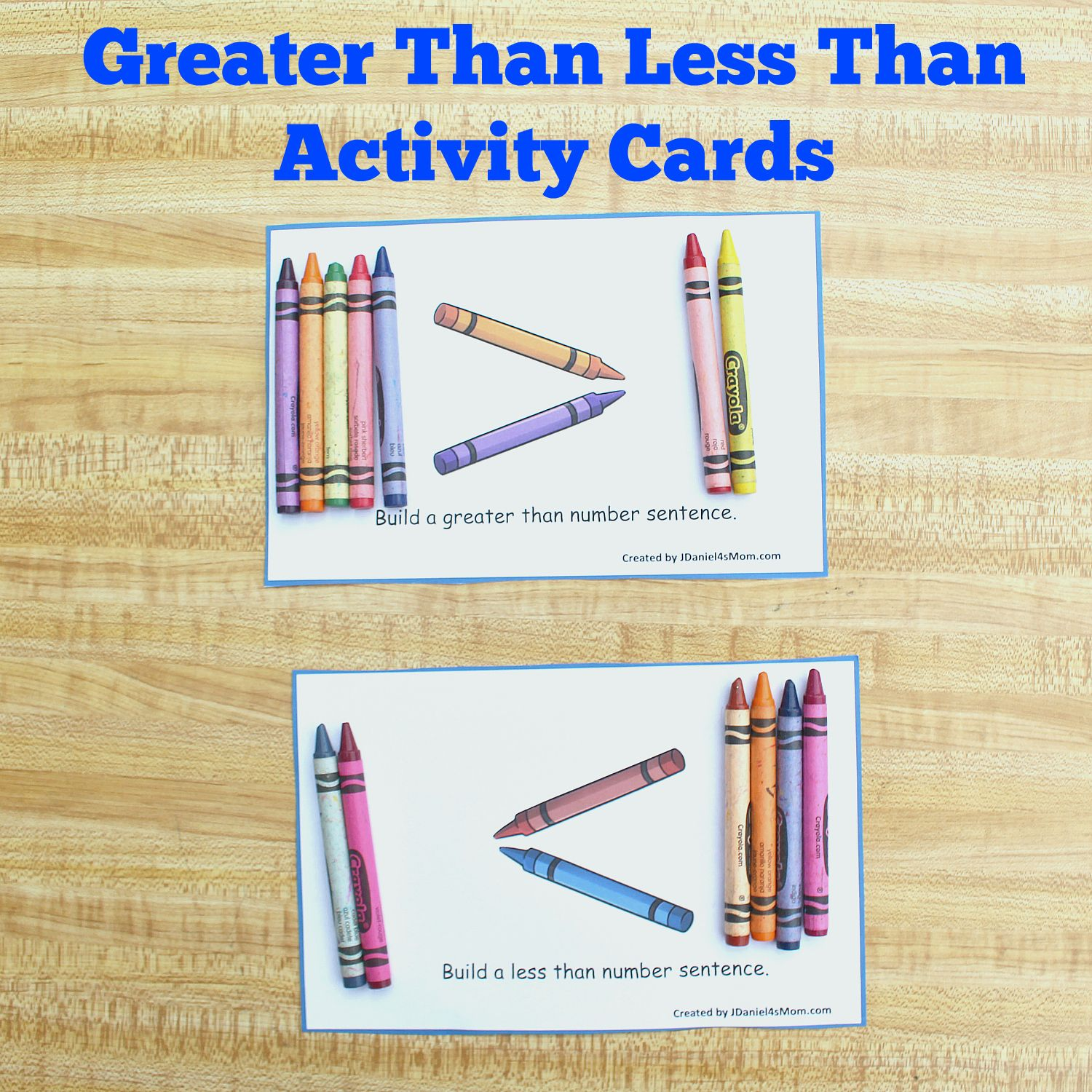 Greater Than Less Than Activity Cards