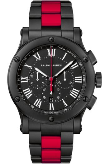 Found here, this Ralph Lauren watch's bracelet is made of black ceramic punctuated by a striking red rubber racing stripe.