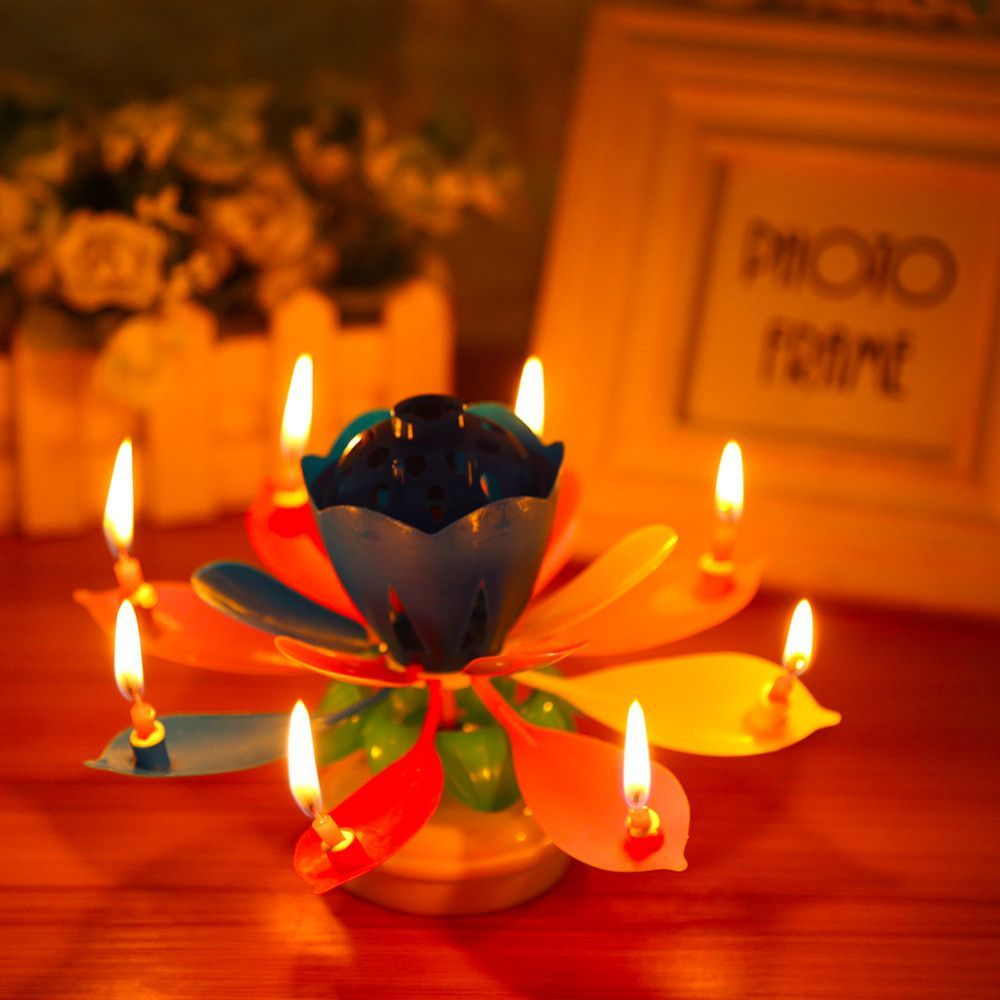 2017 art musical candle colorful lotus flower happy birthday party 2017 art musical candle colorful lotus flower happy birthday party cake topper gift rotating lights decoration candles lamp izmirmasajfo