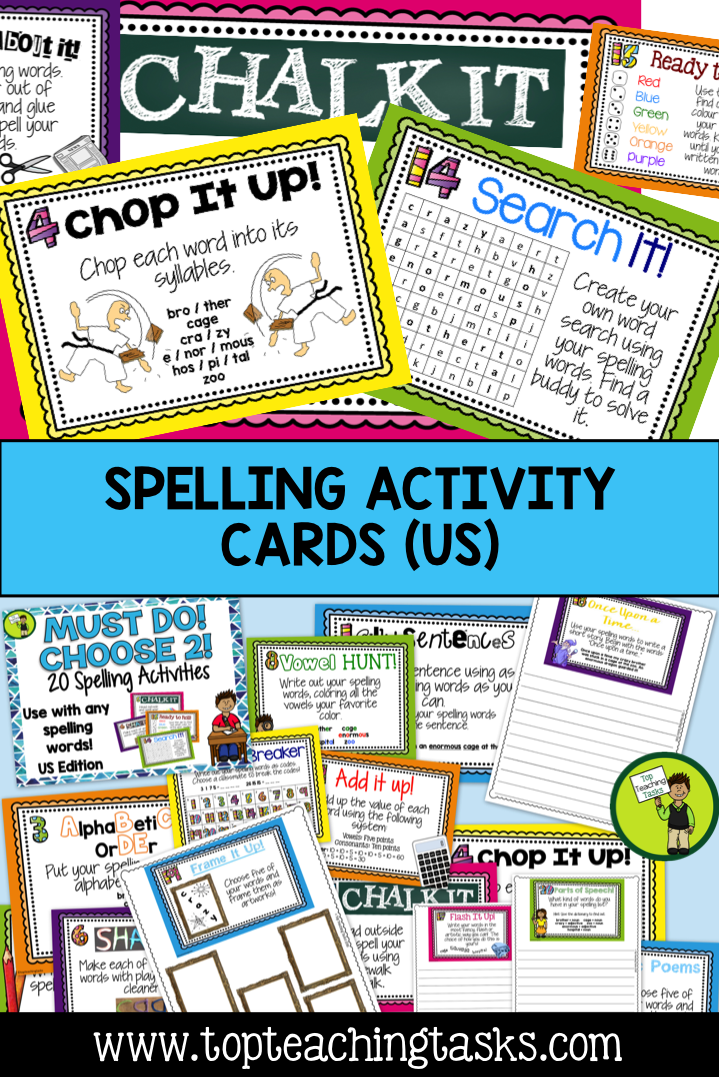 Spelling Activity Task Cards with Student Worksheets US