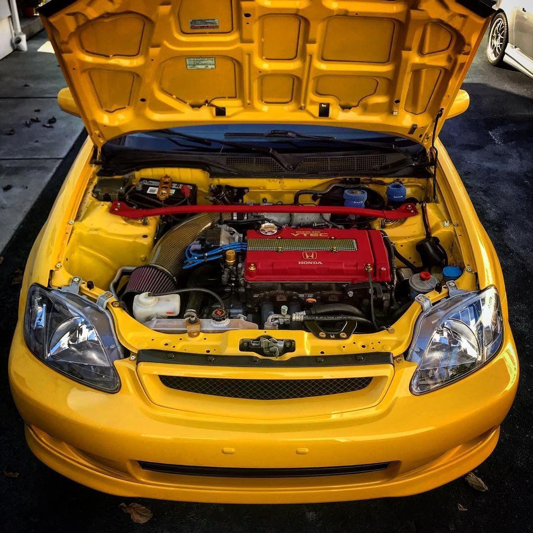 Yellow Honda Civic Ek Hatchback Engine Civic Honda Civic Honda