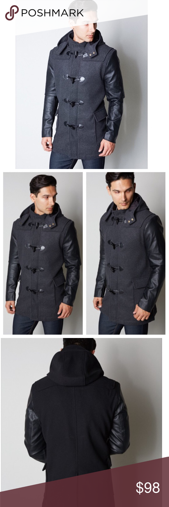 """Men's Charcoal Toggle Wool Coat Men's urban style slim-fit toggle coat in charcoal. Fully lined with removable hood. Polyurethane material sleeve for sexy leather look. 95% polyester, 5% wool. True to sizes. Meant to fit slim.  ** Third picture shows back style.  * Before asking, please note whatever sizes are listed below are all I currently have in stock.   ▫️Add to Bundle"""" to add more items in my closet or """"Buy"""" to checkout here with your size.  ↓Follow me on Instagram ↓…"""
