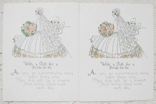 Exquisite 1920's Bride in Stunning Gown Holding Rose Bouquet Gift Cards-2