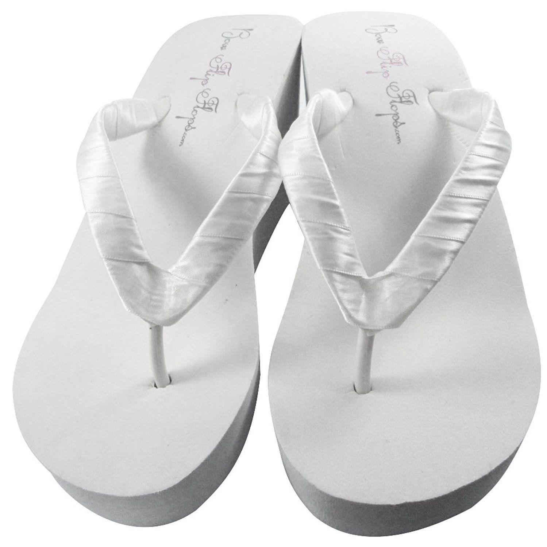 8335cc9dc9b Bow Flip Flops Wedge Wedding Flip Flops White Ivory 3.5 inch Heel- Satin Bride  Bridesmaid