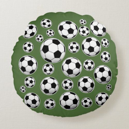 Tree Top Soccer Ball Pattern Round Pillow