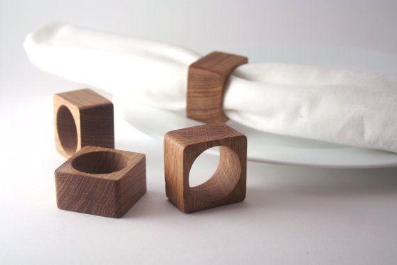 Square Oak wood napkin rings. Set of 4. #napkinrings