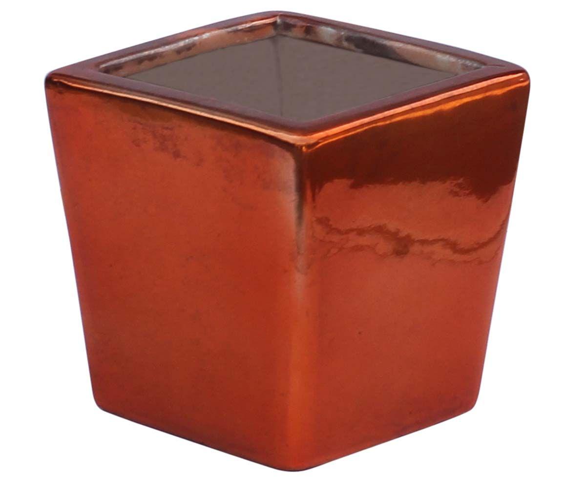 bulk wholesale square ceramic planting pot – hand-painted copper