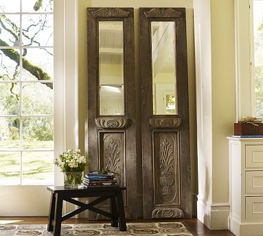 Knock Off Pottery Barn Wooden Door Mirror They Sell It For 600 We Could Make It For Wayyy Less Carved Doors Wood Doors Interior Glass Doors Interior