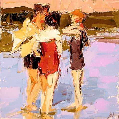 En la playa de Rockaway después de que Edward Henry Potthast - a Sally Cummings Shisler