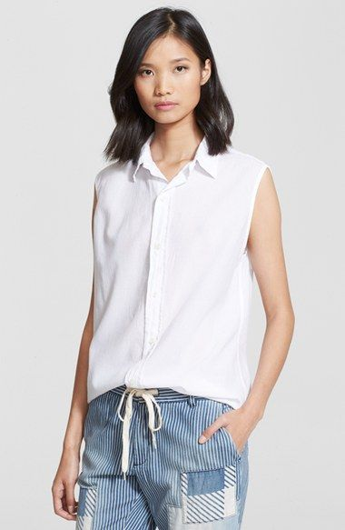 Current/Elliott 'The Grad Shirt' Sleeveless Cotton Shirt available at #Nordstrom