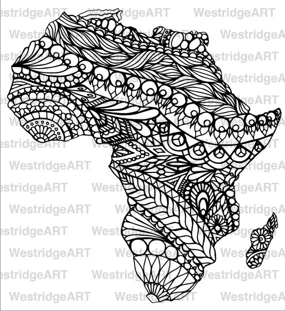 Mandala doodle adult colouring page map of africa par for Map of africa coloring page