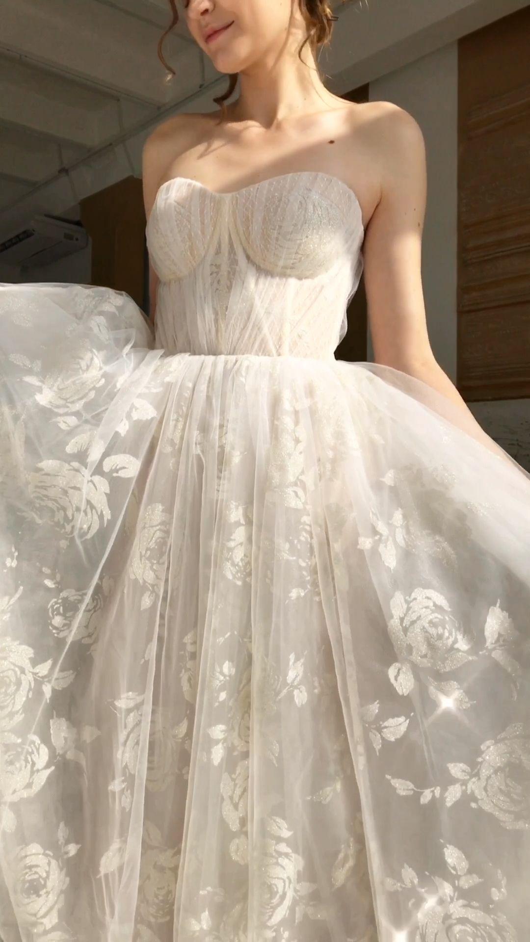 Shimmer glitter wedding dress with roses