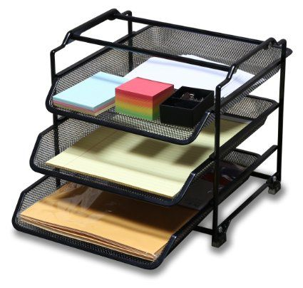 DecoBros STACKABLE 3 Tier Desk Document Letter Tray ...