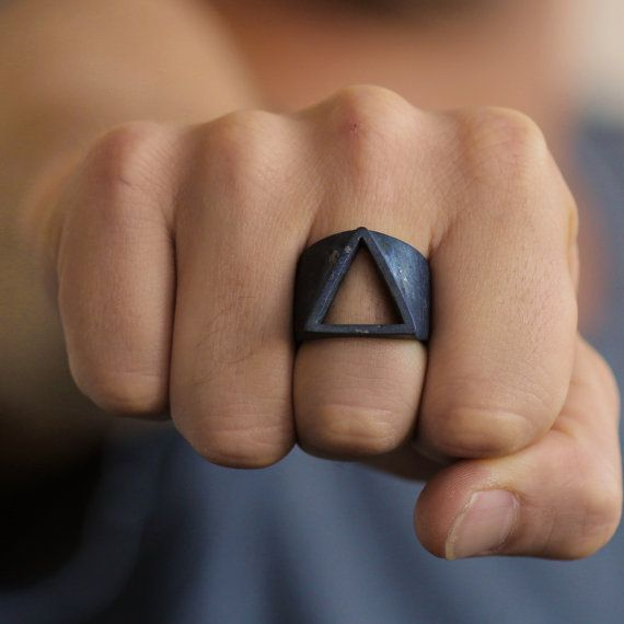 Triangle Ring Black Ring Triangle Rings Geometric Ring Triangle