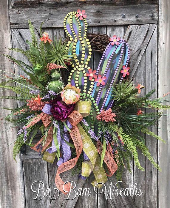 Succulent Wreath Succulent Decor Cactus Wreath Cactus