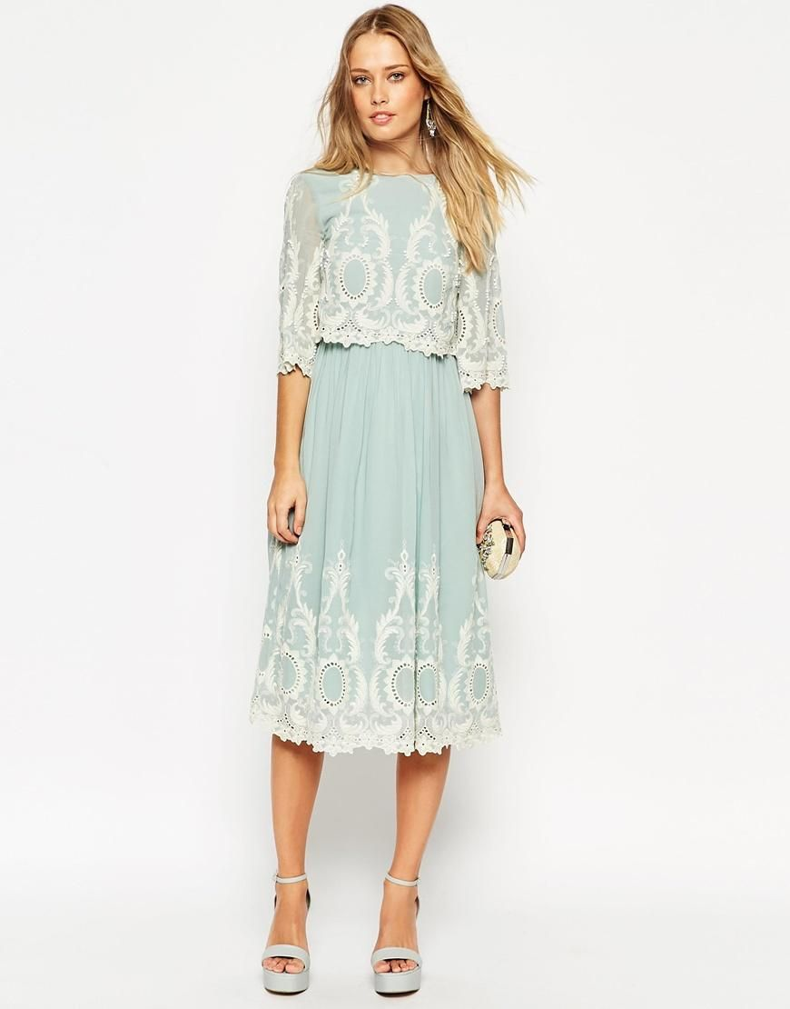 asos double layer midi dress with contrast embroidery and