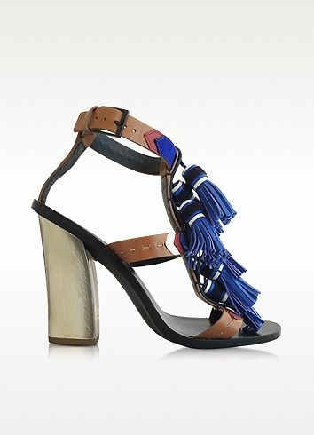 39196535e3fe00 Multi Blue Leather Weaver Tassel Sandal - Tory Burch