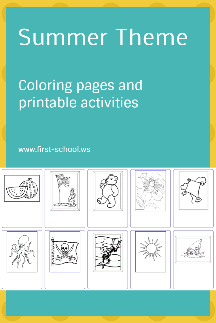 Summer coloring pages and printable activities for preschool to 2nd ...