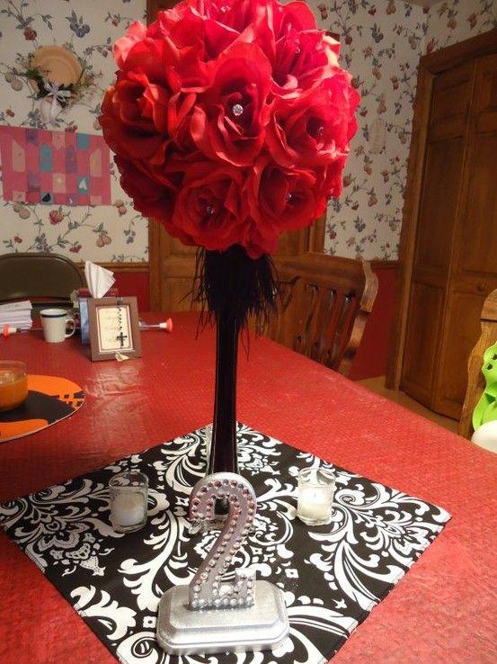 Centerpiece Wedding Black Red Silver