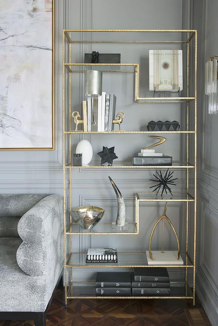 Franklin Road Beauty Bookshelf Styling Design: Lori Paranjape ©PaigeRumorePhotography  #moderndecor #interiordesign #shelfie #brass #bookshelfstyling #interiorstyling #livingroom #livingroomshelf #bookcase #bookcasestyling