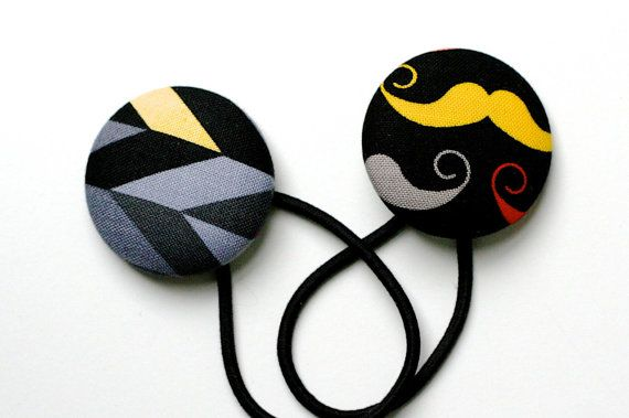 Hipster Hair Tie Set  Moustache and Geometric  Set of Two Super Large Hair Ties on super strong snagless elastics x