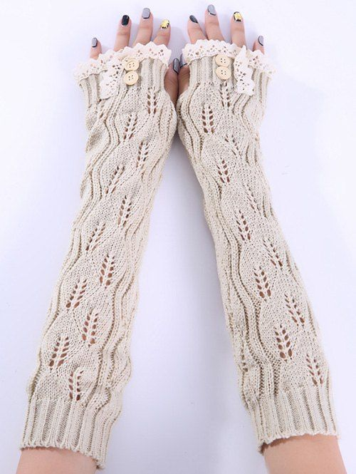0e52997f4 Women's Crochet Long Fingerless Gloves with Thumb Hole Beige). Christmas  Winter Lace Buttons Hollow Out Crochet Knit Arm Warmers - BEIGE