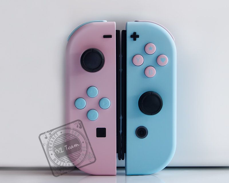 Custom Pastel Pink And Blue Nintendo Switch Joy Con Joycon Controllers With Matching Buttons Nintendo Switch Accessories Nintendo Switch Pastel Pink
