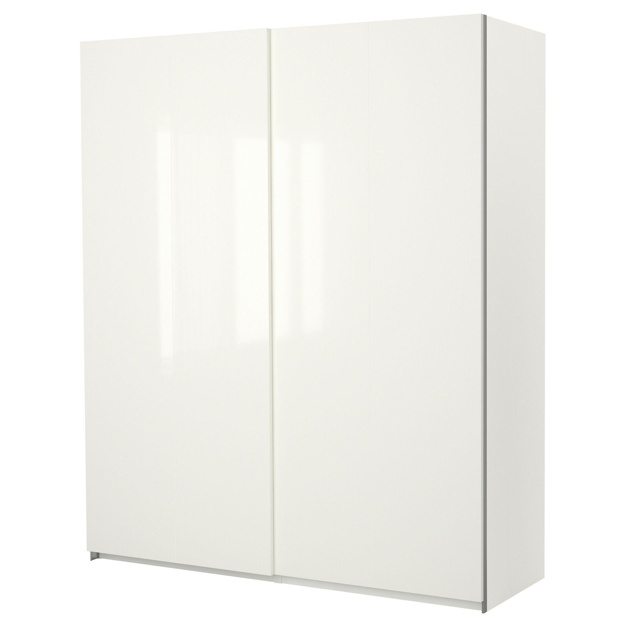 PAX Wardrobe with sliding doors White hasvik high gloss