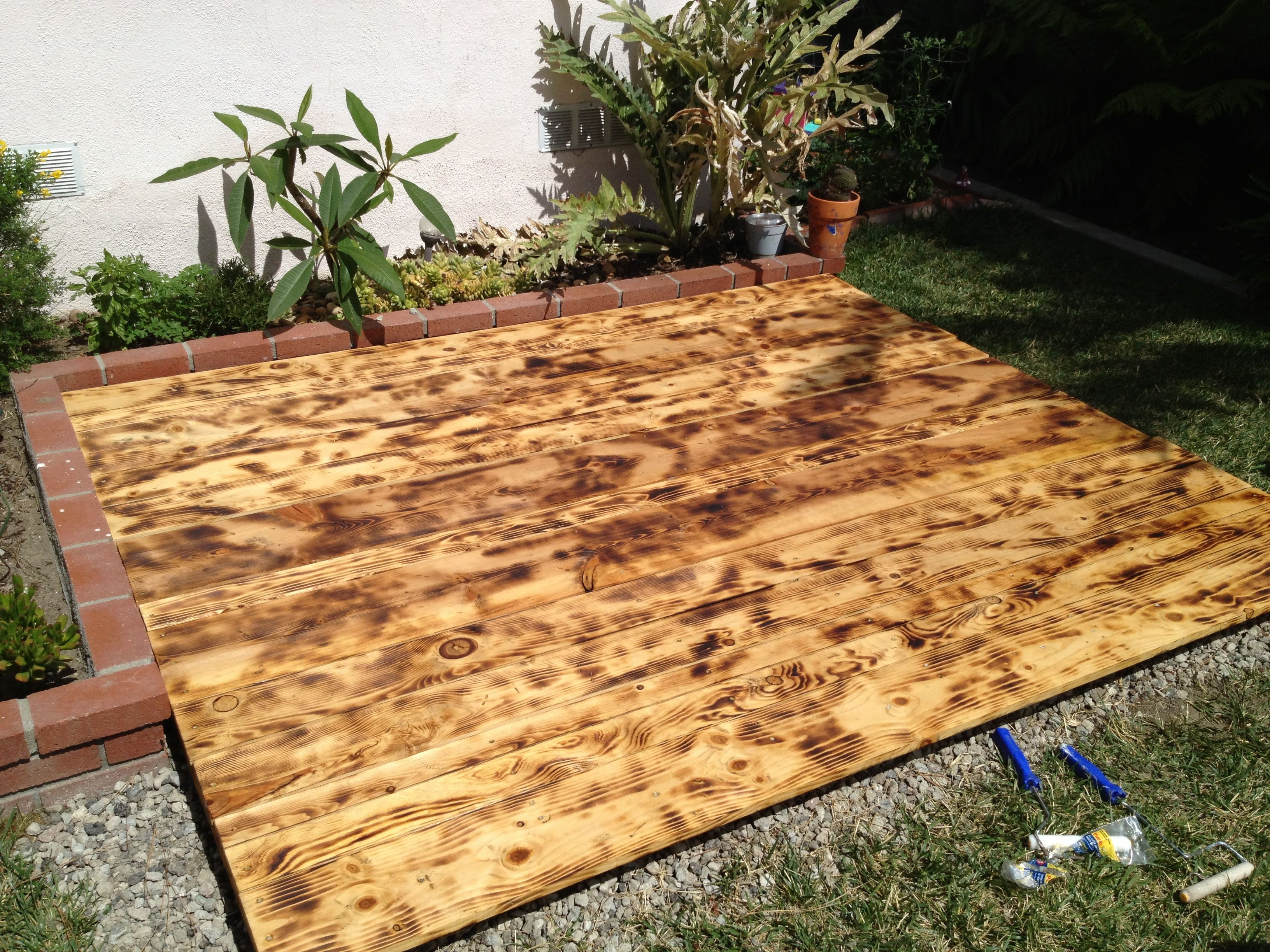 Mini deck is done torched wood and stained now it is time ...