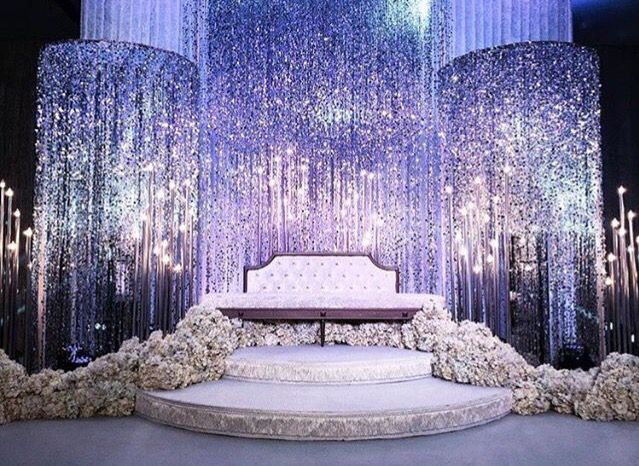 Strands Of Hanging Crystals Wedding Stage Decorations Wedding