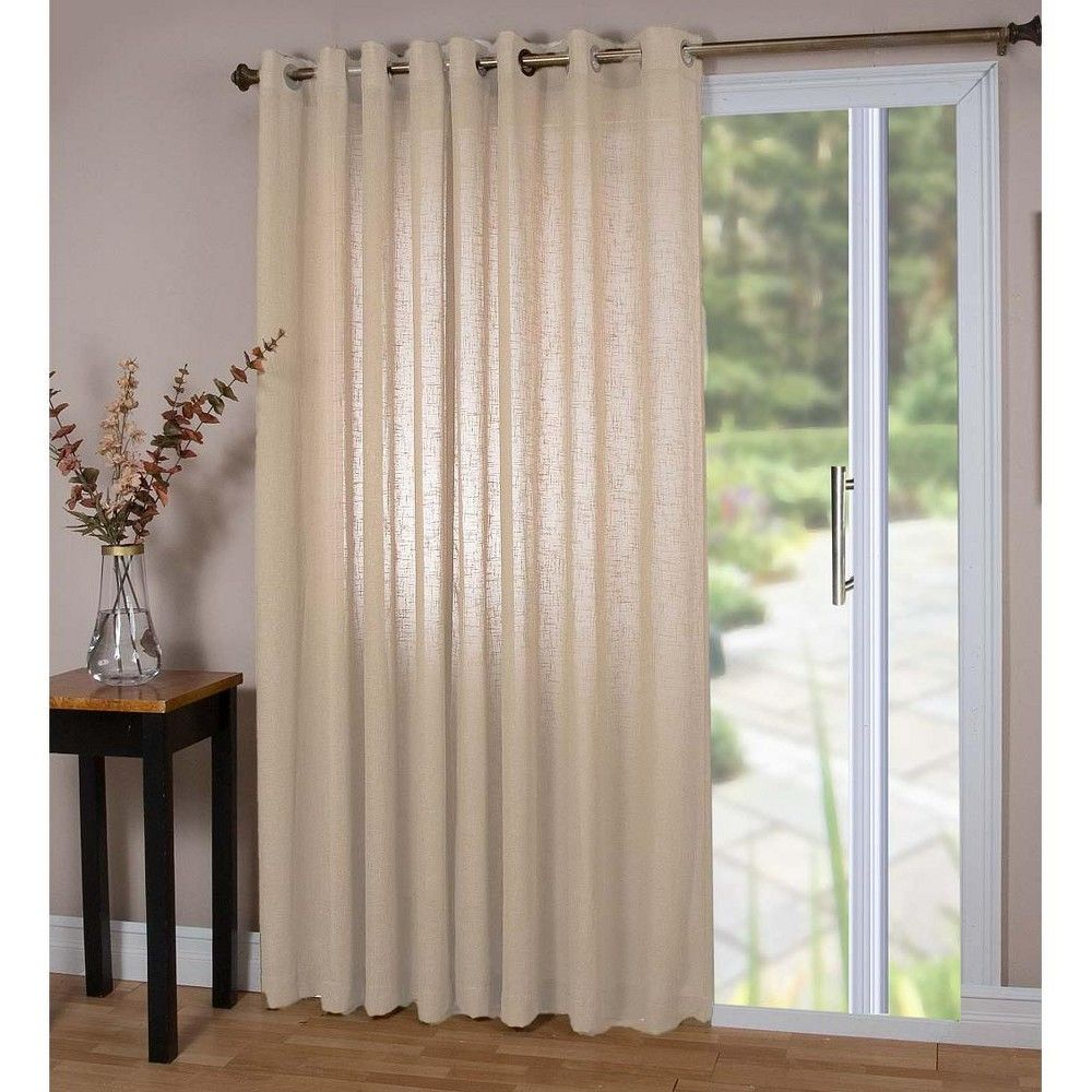 Double Width Sheer Linen Single Window Curtain Panel With Grommets Natural Plow Hearth Brown Panel Curtains