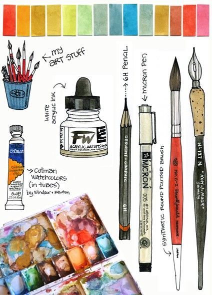 Line Drawings Of Art Tools Art Blog Watercolor Paintings