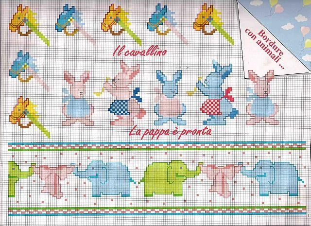 bordi punto croce bimbi cavalli conigli elefanti