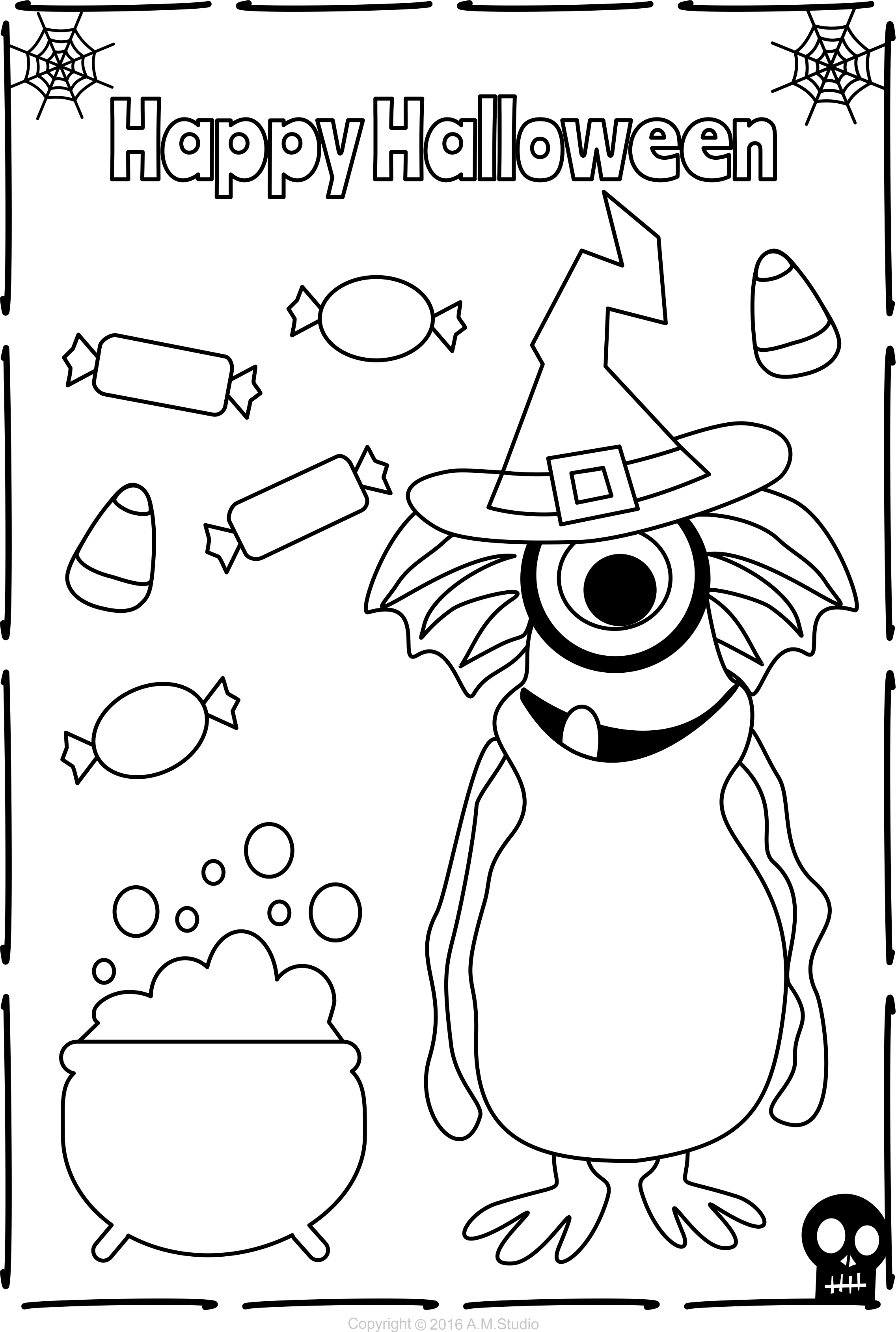 13 Halloween Themed Coloring Pages For Kids Coloring Pages