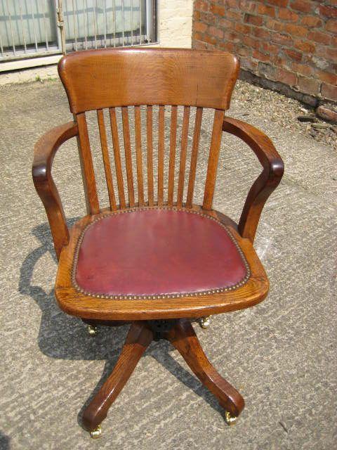 Superb OAK Swivel And Tilt Desk Chair   Antiques Atlas