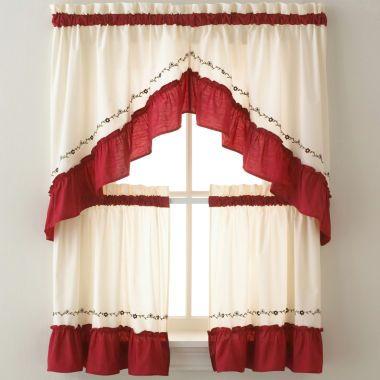 Jayden Two-Tone Rod-Pocket Kitchen Curtains found at ...