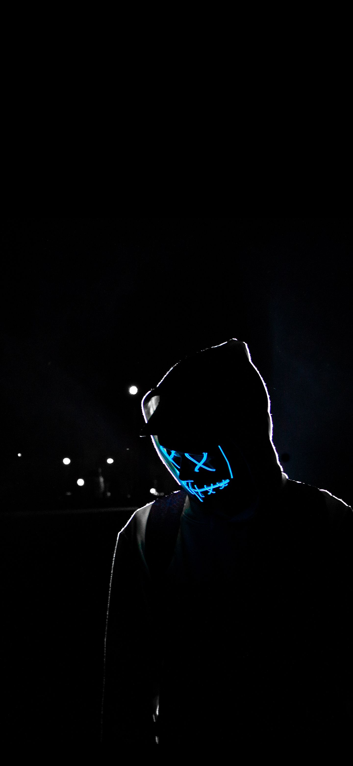 Blue Neon Mask Wallpaper My Pictures Pics