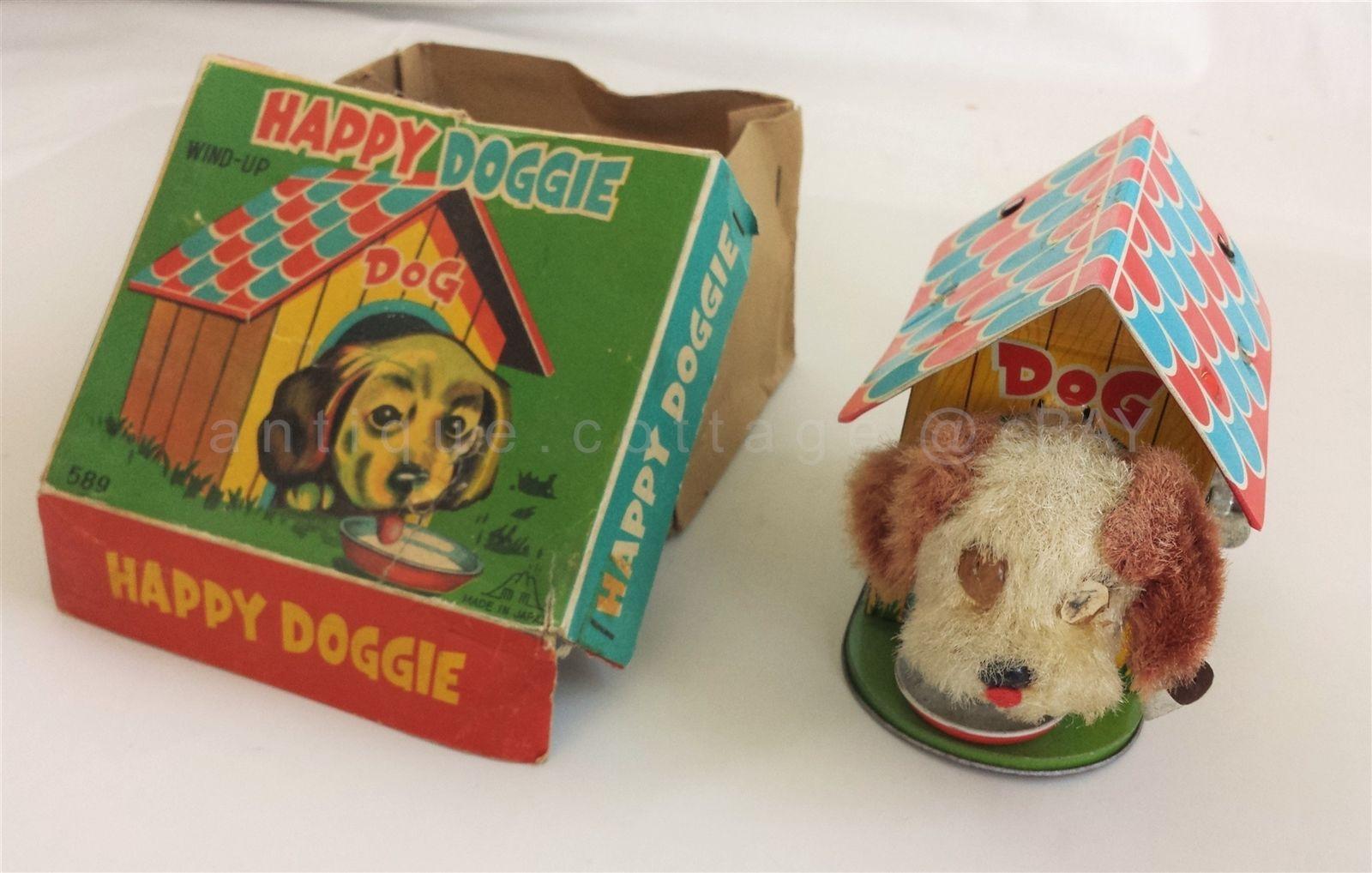 Toys Vintagetoys 1940 Vintage Tin Metal Dog House Wind Up Toy Made In Japan Happy Doggie Works Wind Up Toys Dog House Vintage Tin [ 1018 x 1600 Pixel ]