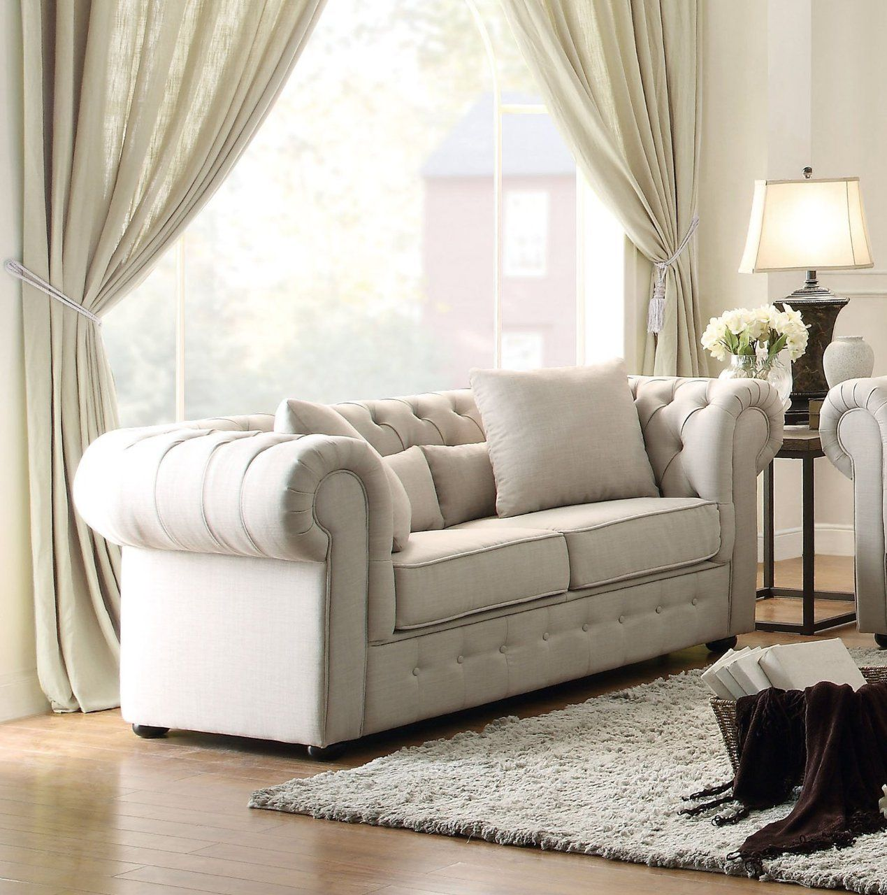Homelegance Grand Chesterfield Love Seat Upholstered Button Tufted ...