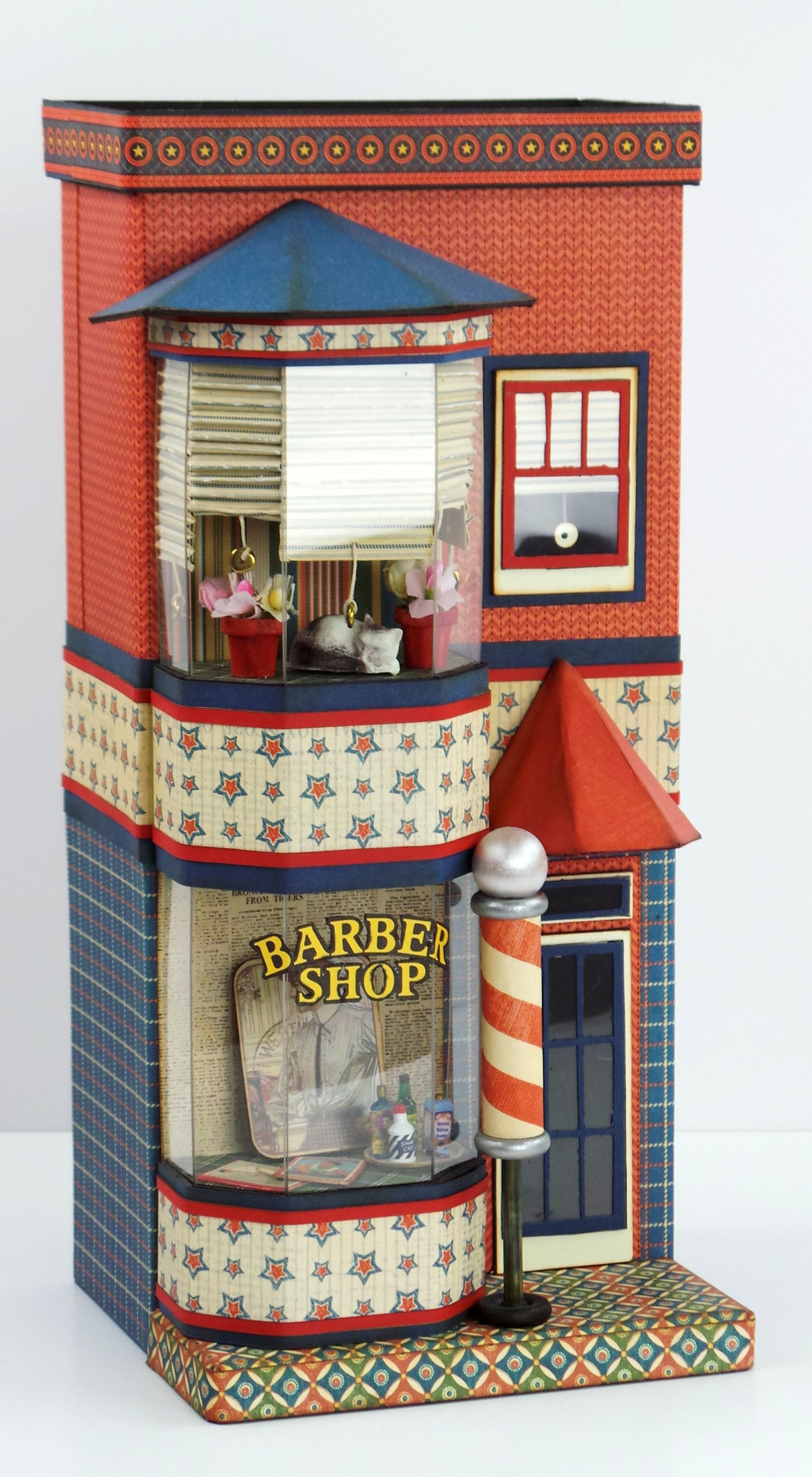 Maple street barber shop 3d paper projects maple street doll houses jeuxipadfo Image collections