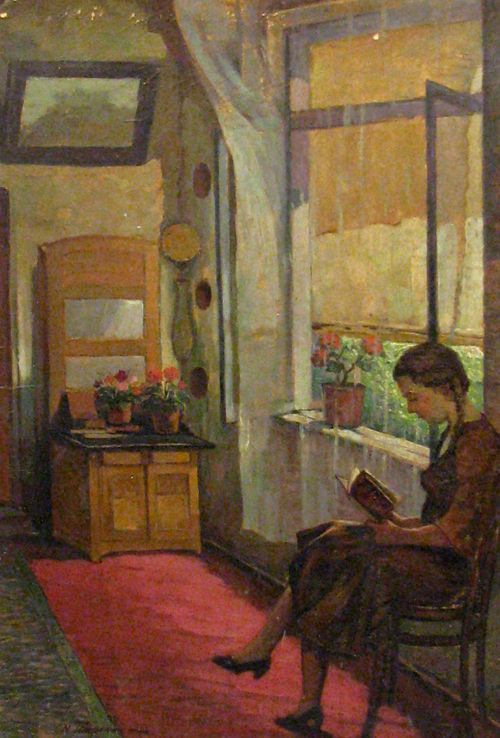 "Interior with girl reading. Nicolae Tempeanu (Romanian, 1883-1937). Oil on board. ""We are of opinion that instead of letting books grow moldy behind an iron grating, far from the vulgar gaze, it is better to let them wear out by being read."" ― Jules Verne, Journey to the Center of the Earth:"