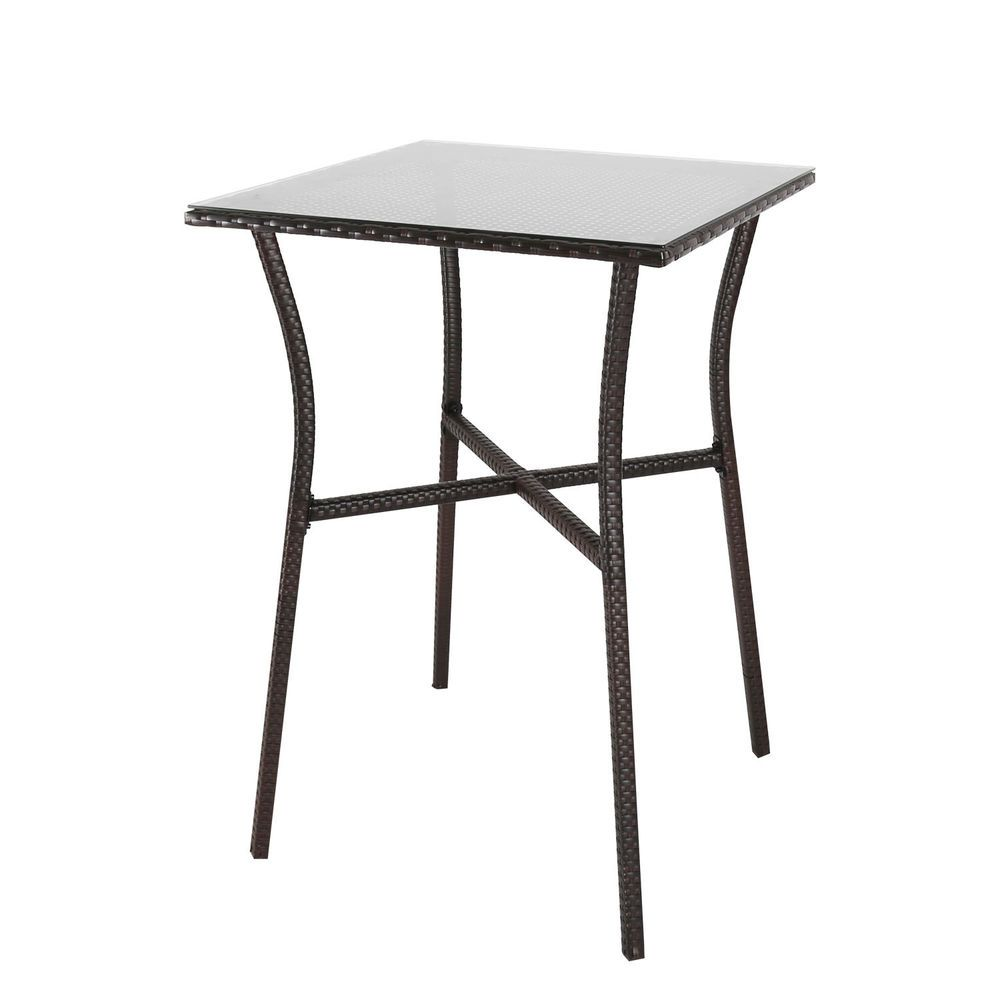 27 5 Square Patio Wicker Table Tempered Glass Top Garden Outdoor