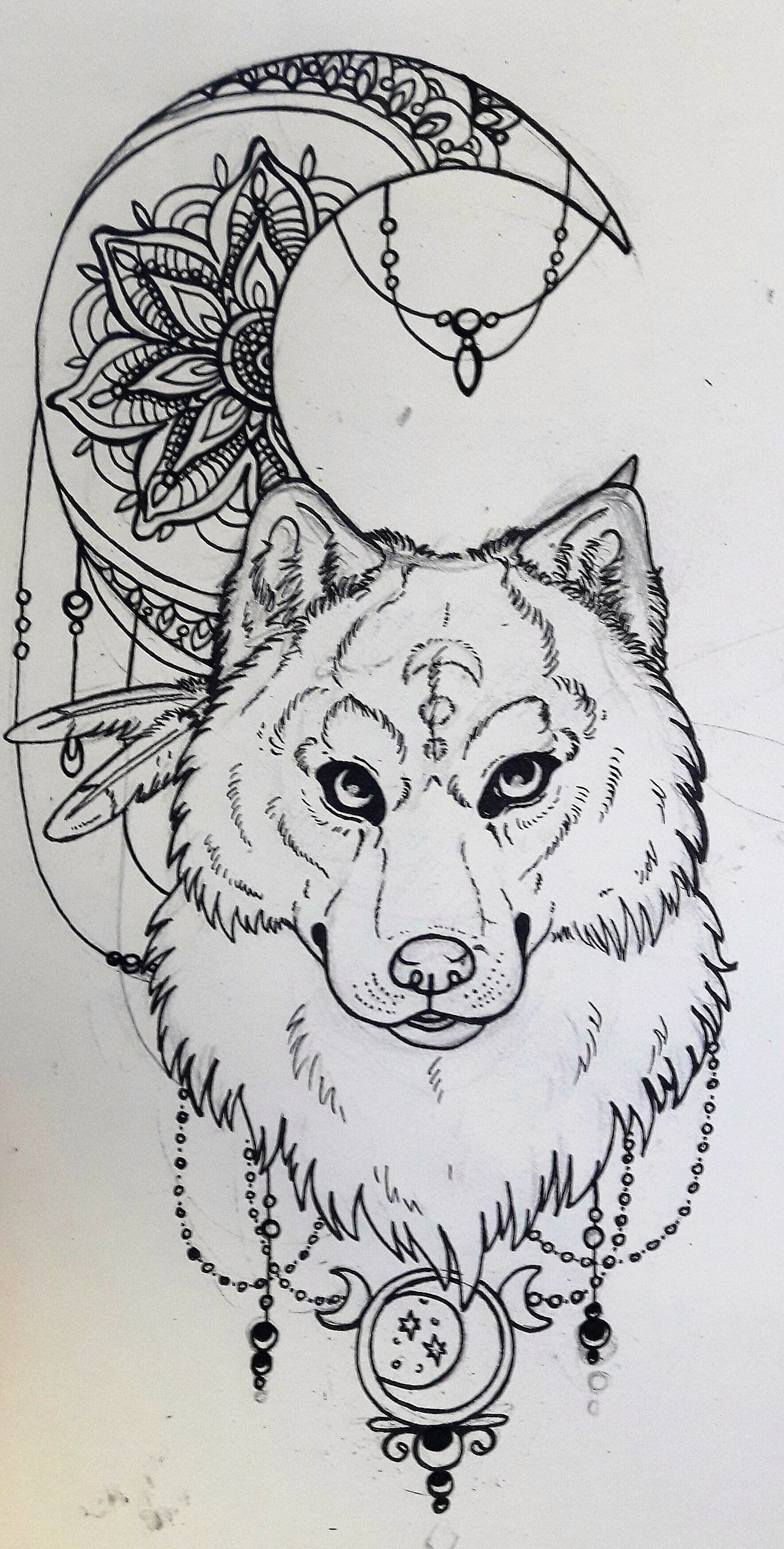 Ein Wolf Und Der Mond Im Tattoo Style A Tattoo Style Ink Drawing Of A Wolf And Moon Wolf And Moon Tattoo Wolf Tattoo Sleeve Wolf Moon