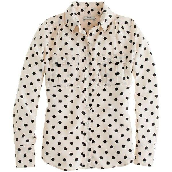 J.Crew Blythe blouse in polka dot found on Polyvore