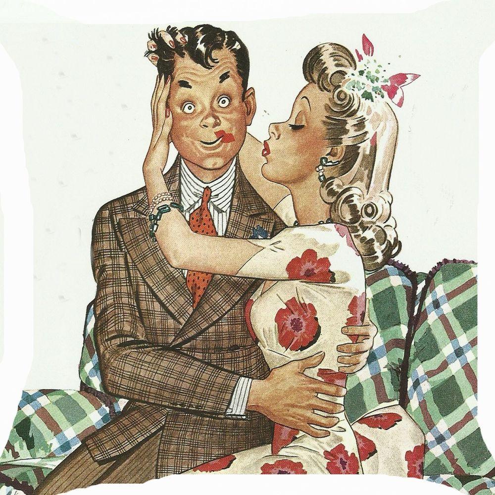 Retro Girl Kiss Boy Lipstick Lovers Funny 2 Side Pillow Cushion
