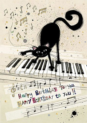 Musical Cat Birthday Card